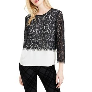 Maison Jules Black Lace Overlay Top